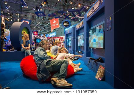 Cologne, Germany, August 13, 2014: Minecraft presentation on gamescon. Gamescom is a trade fair for video games held annually at the Koelnmesse in Cologne.