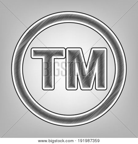 Trade mark sign. Vector. Pencil sketch imitation. Dark gray scribble icon with dark gray outer contour at gray background.