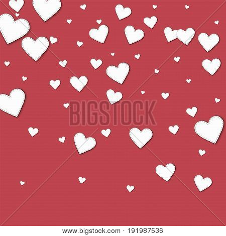 Cutout White Paper Hearts. Top Gradient With Cutout White Paper Hearts On Crimson Background. Vector