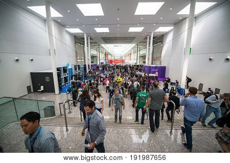 Cologne, Germany, August 13, 2014: Gamescom is a trade fair for video games held annually at the Koelnmesse in Cologne.