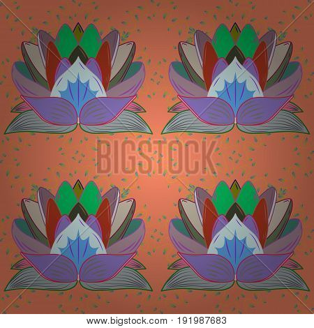 Watercolor hand painting of abstract blue flowers seamless pattern vector background.