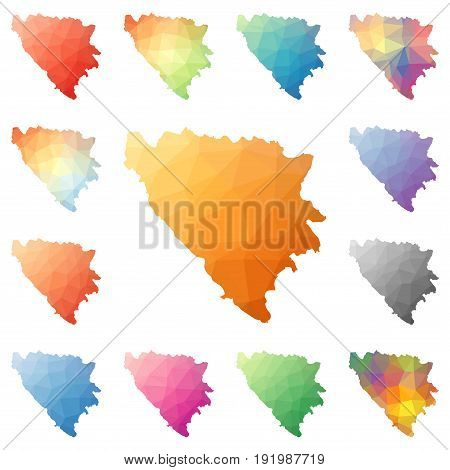 Bosnia Geometric Polygonal, Mosaic Style Maps Collection. Bright Abstract Tessellation, Low Poly Sty