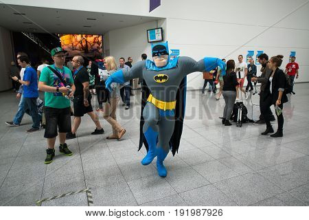 Cologne, Germany, August 13, 2014: Man in the funny batman costume in gamescon. Gamescom is a trade fair for video games held annually at the Koelnmesse in Cologne.
