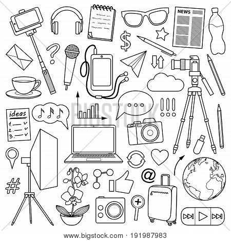 Blog object set. Vector pattern with blogging and media elements for covers, web banners, coloring books.