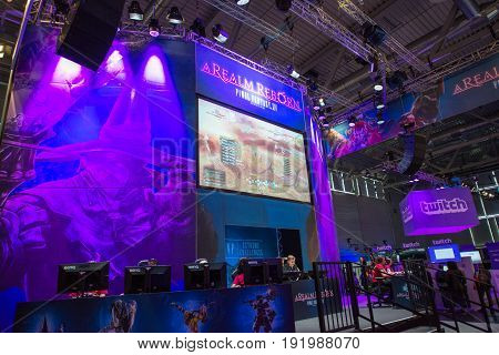 Cologne, Germany, August 13, 2014: A realm reborn presentation on gamescon. Gamescom is a trade fair for video games held annually at the Koelnmesse in Cologne.