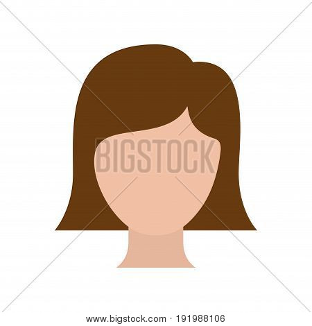 colorful silhouette faceless woman with straight short hair vector illustration