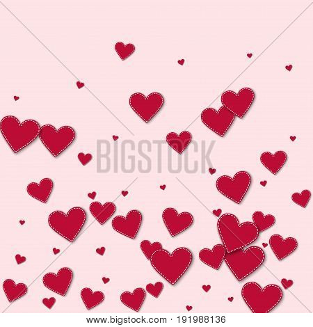 Red Stitched Paper Hearts. Bottom Gradient On Light Pink Background. Vector Illustration.