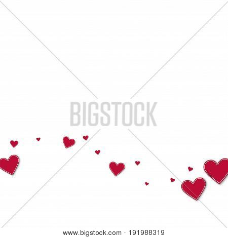 Cutout Red Paper Hearts. Bottom Wave On White Background. Vector Illustration.