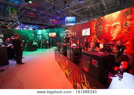Cologne, Germany, August 13, 2014: Noscoth presentation on gamescon. Gamescom is a trade fair for video games held annually at the Koelnmesse in Cologne.