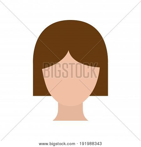 colorful silhouette faceless woman with short hair vector illustration