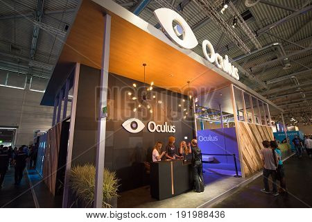 Cologne, Germany, August 13, 2014: Oculus VR on gamescon. Gamescom is a trade fair for video games held annually at the Koelnmesse in Cologne.