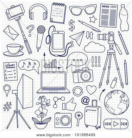 Blog object set on squared background. Vector pattern with blogging and media elements for covers, web banners, coloring books.