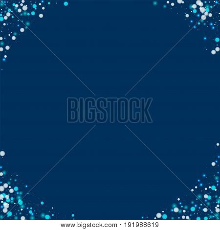 Beautiful Falling Snow. Corners With Beautiful Falling Snow On Deep Blue Background. Vector Illustra