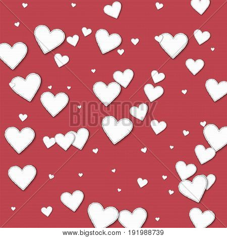 Cutout Paper Hearts. Chaotic Scatter Lines On Crimson Background. Vector Illustration.