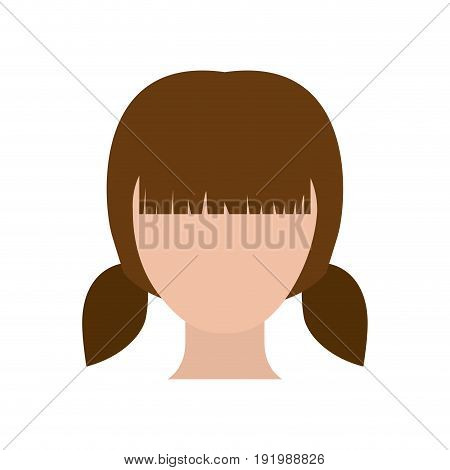 colorful silhouette faceless girl with pair pigtails hairstyle vector illustration