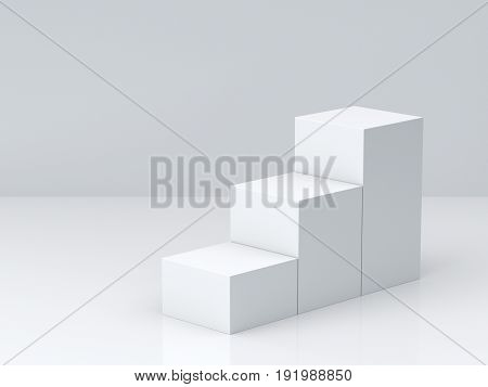 White cube boxes step with white blank wall background for display. 3D rendering.