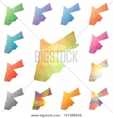 Jordan Geometric Polygonal, Mosaic Style Maps Collection. Bright Abstract Tessellation, Low Poly Sty