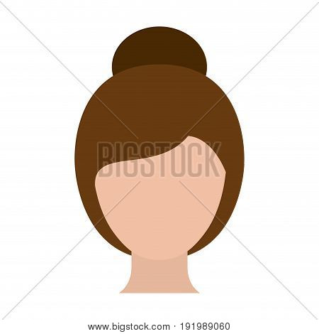 colorful silhouette faceless woman with collected hairstyle vector illustration