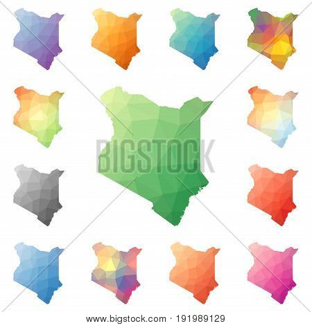 Kenya Geometric Polygonal, Mosaic Style Maps Collection. Bright Abstract Tessellation, Low Poly Styl