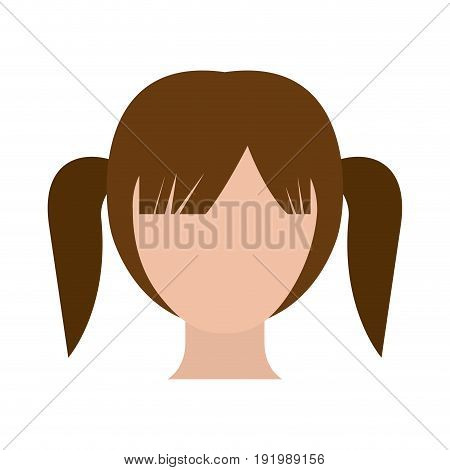 colorful silhouette faceless girl with high pigtails hairstyle vector illustration