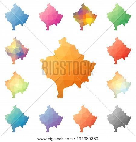 Kosovo Geometric Polygonal, Mosaic Style Maps Collection. Bright Abstract Tessellation, Low Poly Sty