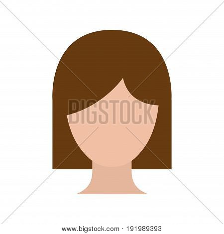 colorful silhouette faceless woman with short hairstyle vector illustration