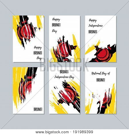 Brunei Patriotic Cards For National Day. Expressive Brush Stroke In National Flag Colors On White Ca