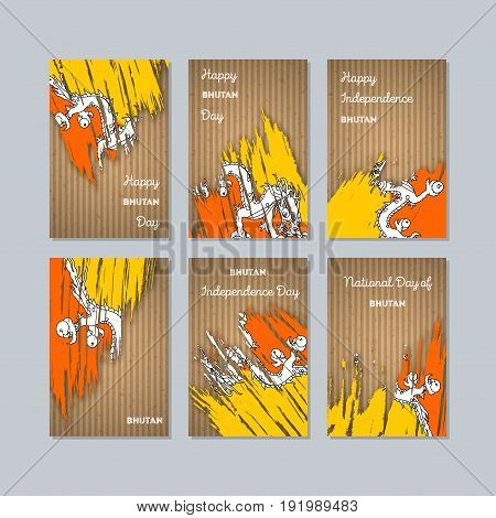 Bhutan Patriotic Cards For National Day. Expressive Brush Stroke In National Flag Colors On Kraft Pa