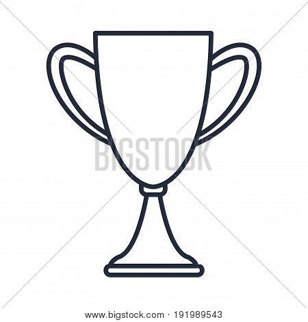 outlined trophy award prize win vector illustration