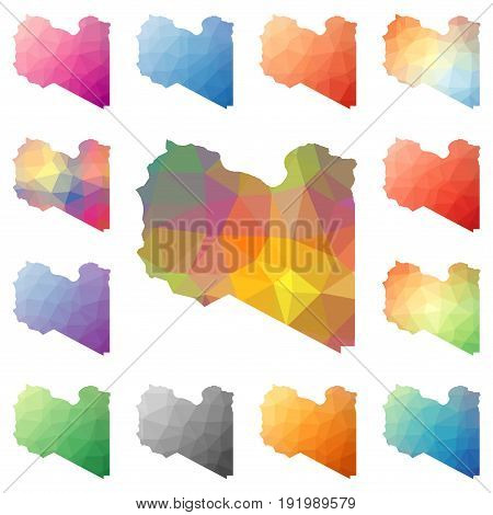 Libya Geometric Polygonal, Mosaic Style Maps Collection. Bright Abstract Tessellation, Low Poly Styl