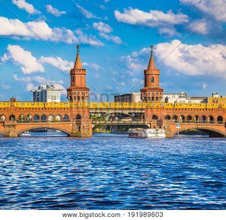 Oberbaum Bridge With Spree River, Berlin, Germany