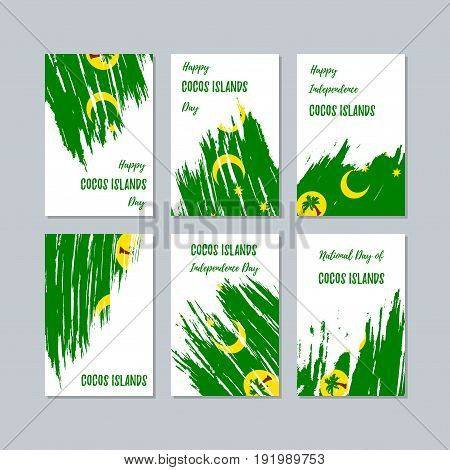 Cocos Islands Patriotic Cards For National Day. Expressive Brush Stroke In National Flag Colors On W