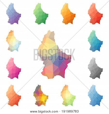 Luxembourg Geometric Polygonal, Mosaic Style Maps Collection. Bright Abstract Tessellation, Low Poly