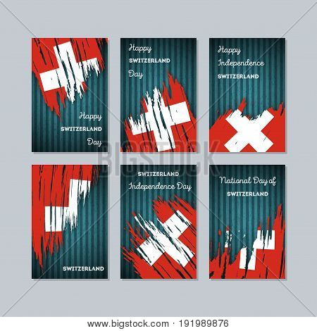 Switzerland Patriotic Cards For National Day. Expressive Brush Stroke In National Flag Colors On Dar