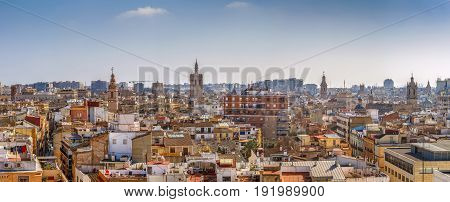 Panoramic view of Valencia historical center from Quart Towers Spain
