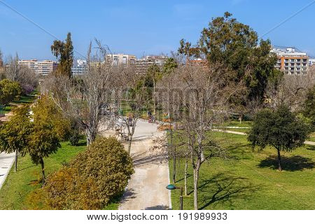 Turia garden in Valencia is one of the largest urban parks in Spain