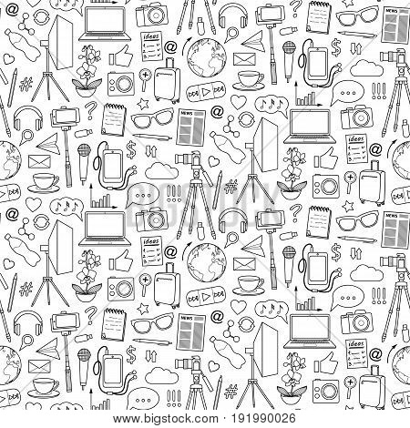Blog object seamless pattern. Vector wallpaper with blogging and media elements for covers, web banners, coloring books.