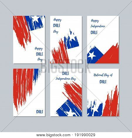 Chile Patriotic Cards For National Day. Expressive Brush Stroke In National Flag Colors On White Car