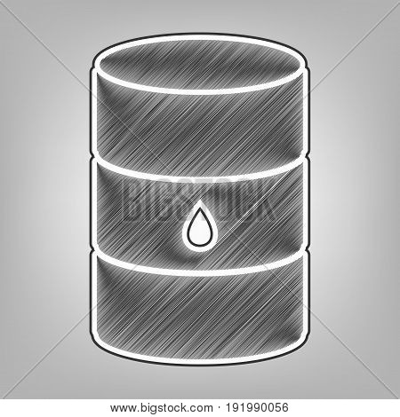 Oil barrel sign. Vector. Pencil sketch imitation. Dark gray scribble icon with dark gray outer contour at gray background.