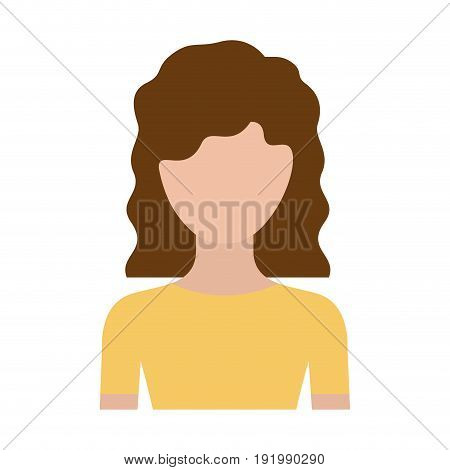 colorful silhouette faceless half body woman with wavy medium hair vector illustration