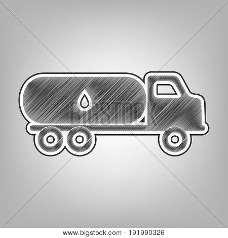 Car transports Oil sign. Vector. Pencil sketch imitation. Dark gray scribble icon with dark gray outer contour at gray background.
