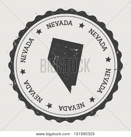 Nevada Vector Sticker. Hipster Round Rubber Stamp With Us State Map. Vintage Passport Stamp With Cir