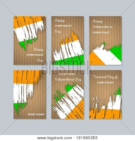 Ivory Coast Patriotic Cards For National Day. Expressive Brush Stroke In National Flag Colors On Kra