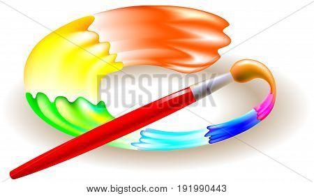 Brush painting rainbow circle, vector cartoon image.
