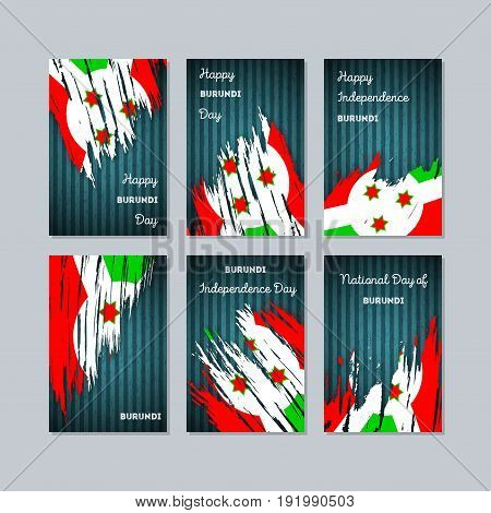 Burundi Patriotic Cards For National Day. Expressive Brush Stroke In National Flag Colors On Dark St