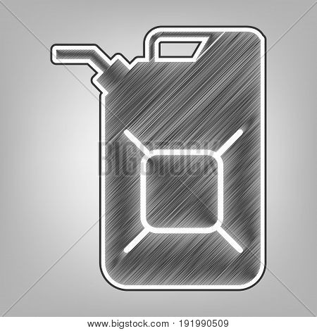 Jerrycan oil sign. Jerry can oil sign. Vector. Pencil sketch imitation. Dark gray scribble icon with dark gray outer contour at gray background.