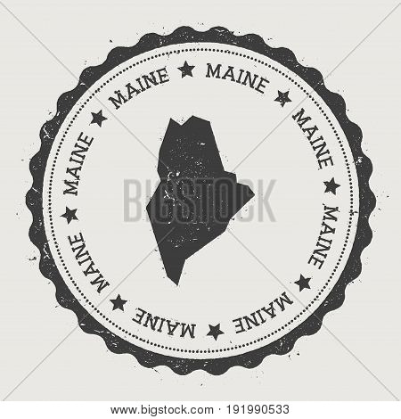Maine Vector Sticker. Hipster Round Rubber Stamp With Us State Map. Vintage Passport Stamp With Circ