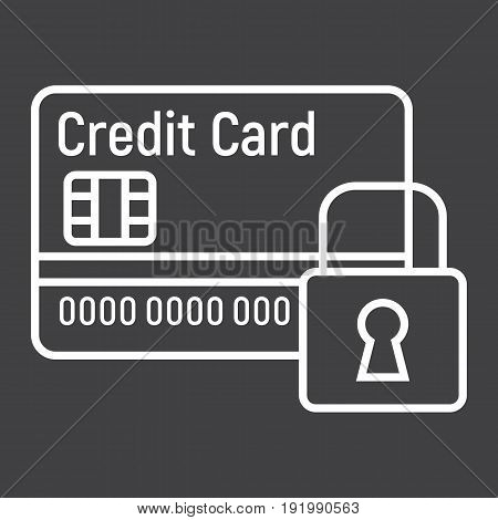 Credit Card with padlock line icon, protection and security, vector graphics, a linear pattern on a black background, eps 10.