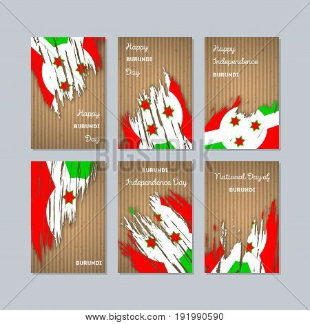 Burundi Patriotic Cards For National Day. Expressive Brush Stroke In National Flag Colors On Kraft P