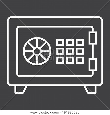 Strongbox line icon, bank safe and security, vector graphics, a linear pattern on a black background, eps 10.